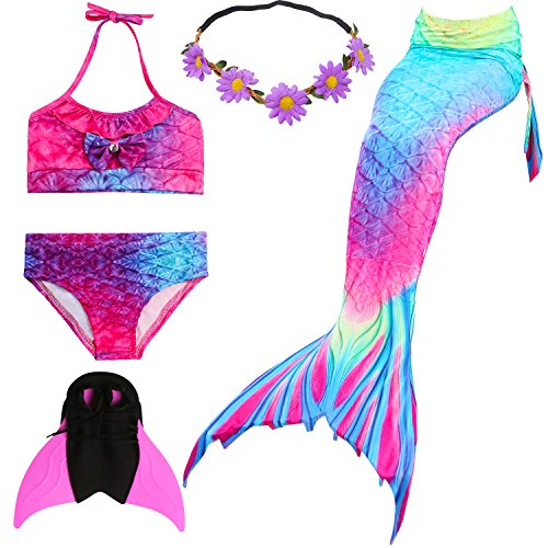 UrbanDesign Costume da Bagno Sirena Bambina Coda da Sirena per Nuotare Bambina con Monopinna Travestimento da Sirena (7-8 Anni, Rosa Blu)