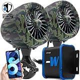 GoHawk TJ4-W Camo Green Waterproof Amplifier 4' Full Range Bluetooth Motorcycle Stereo Speakers 1 to 1.25 in. Handlebar Mount Audio Amp System Harley Touring Cruiser ATV 4-Wheeler, USB, AUX, FM Radio