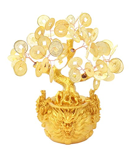 7' Feng Shui Gold Money Fortune Coins Tree in Dragon...