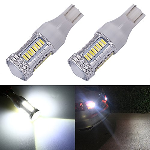ENDPAGE 921 912 T15 W16W 906 LED Bulb 2-pack, Xenon White 6000K, 1000 Lumens Extremely Bright, 33-SMD with Projector Lens, 10-30V, Work as Back Up Reverse Lights