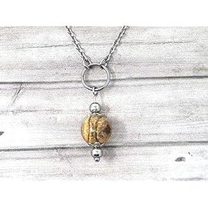 Chokerhalskette für Damen aus Edelstahl mit Ringen und braunen Jaspisperlen