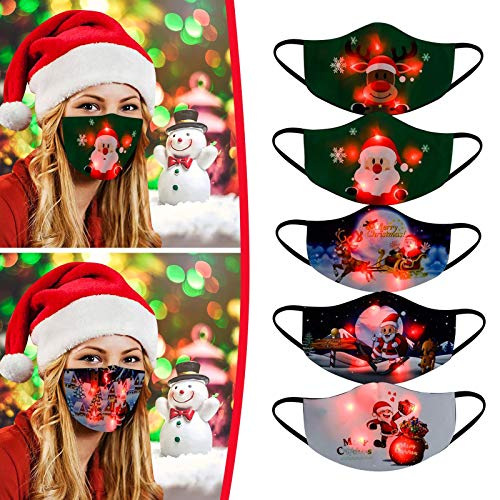 【USA in Stock 】 5PCS Adults Face Masks LED Christmas Pattern Lights Glowing Face Covering Face Protection for Women and Men, Fashion Washable Reusable Earloop Light Up Face Fabric for Outdoor Sports