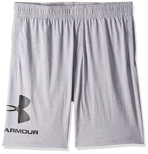 Under Armour Sportstyle Cotton Logo Shorts, Pantalón Corto Hombre, Gris (Steel Light Heather/Black (035)), XL