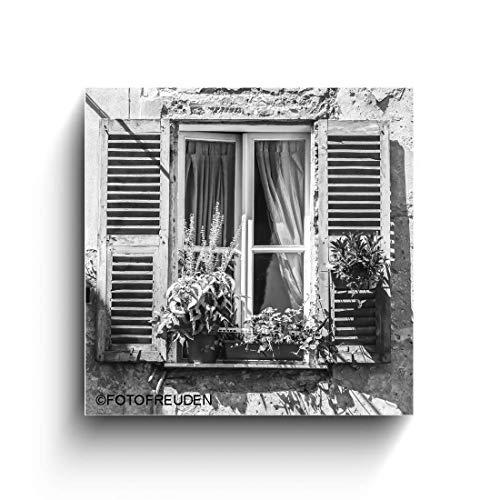 Altes Fenster, Italien Bilder, schwarz weiß Foto auf Holz, Holzbild, Handmade, verschiedene Größen