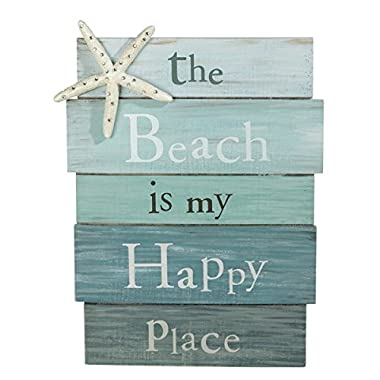 Grasslands Road The Beach Is My Happy Place - Plank Board Sign with Starfish and Rhinestone Accents White, Blue 12  X 9