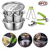 Draulic Multifunktionale Küchenreibe mit Edelstahl-Auffangbecken Anti-Hot-Clip für Küchengemüse Obst