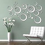Shackcom 24 pcs 3D Miroir Cercle Rond Autocollants Muraux Amovible DIY en Taille Différente Decoration de la Maison Chambre Salon Décor-Évider-Argent