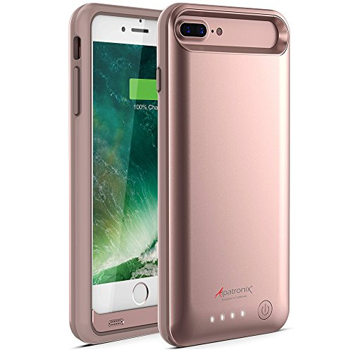 iPhone 8 Plus/7 Plus Battery Case, Slim Portable Protective Extended Charger Cover Compatible with iPhone 8 Plus & iPhone 7 Plus (5.5 inch) BX170plus - (Rose Gold)