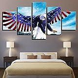 Groß Wandbilder Bild Leinwand Bilder Wohnzimmer Modern Kunstdrucke Leinwanddrucke Kahler Eagle Amerikanische Flagge 5 Teilig Wandbild Poster Hd Print Wohnkultur(150x80cm)