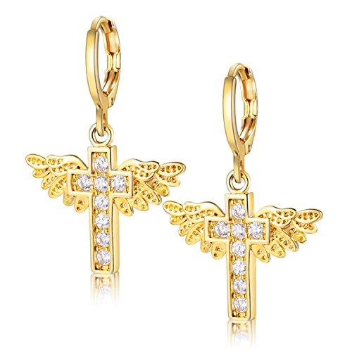 Uloveido-Frauen-Gold überzogener Hebel-rückseitiger Ohrring, religiöse Engelsflügel-Kreuz baumeln Ohrringe, Lehrer-Anerkennung Geschenke Y199-Gold