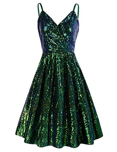 GRACE KARIN Spahetti Strap A-line Sequins Cocktail Dress Dark Green Wrap Dress Size L