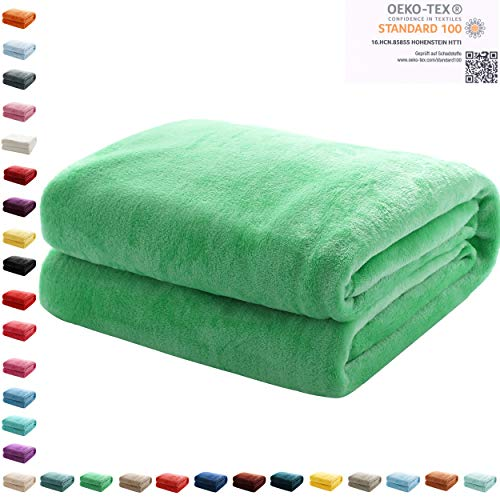 Mixibaby Kuscheldecke Flauschige Wohndecke Fleecedecke Sofadecke Bettüberwurf 220 x 240cm, Farbe:Apfelgrün