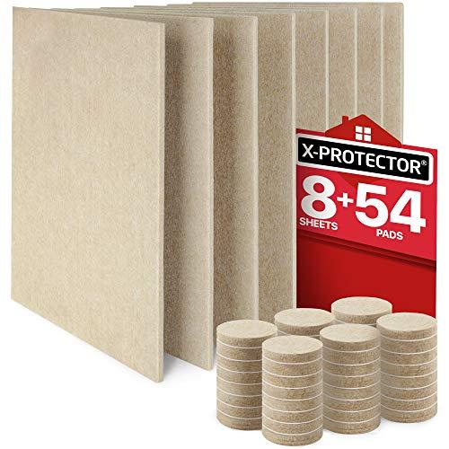 X-Protector Fieltro Adhesivo Deslizadores para Muebles – Premium 6 Fieltro Autoadhesivo 20x16cm & 54 Almohadillas de Fieltro Adhesivos Fieltro es el Producto Que Necesita!