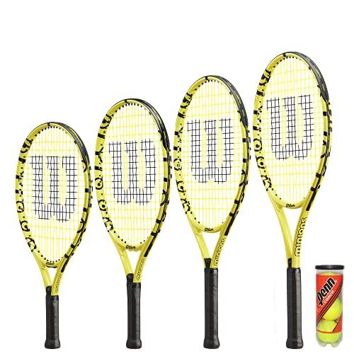 Wilson Minions Junior - Raqueta de tenis (incluye funda y pelotas de tenis, 17, 19, 21, 23 y 25 pulgadas)