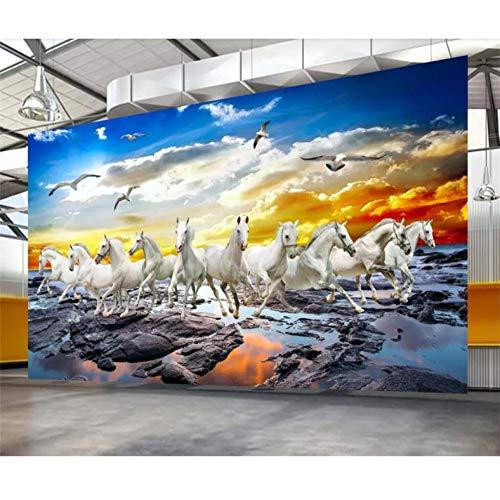 Dianer Aangepaste Wallpaper 3D Fresco Stereo Paard om Succes Paard Kaart Olie Schilderen Tv Achtergrond Muur Grootte: 150x120cm