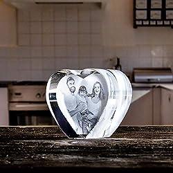 Isonio Glasherz mit Foto schönstes Foto in EIN Herz aus Viamant Glas gelasert - Foto im Kristallglas als Fotogeschenk (Größe L 100x90x60mm)