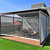 Pergola - Cortinas de persiana enrollable para exteriores, 100% transparente, persianas de ventana con resistente al viento, para porche, pérgola, toldo de ducha y piscina Outsi (tamaño: 120 x 100 cm)