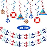18 Pieces Nautical Party Supplies, Includes Nautical Garland Nautical Party Themed Hanging Banner and Nautical Hanging Swirl Decorations for Birthday Party Baby Shower Decoration