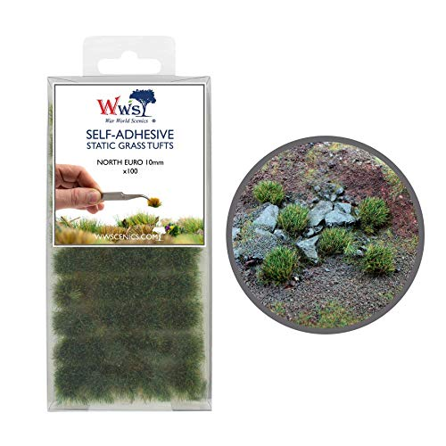 War World Scenics Self Adhesive Static Grass Tufts x 100 – North European, 10mm – Model Railway Wargame Scenery Railroad Modelling Diorama Miniature Hobby Tabletop