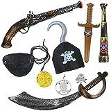 com-four® Kit de Accesorios para Disfraces de Pirata de 9 Piezas - Ideal para carnavales, Fiestas temáticas y Eventos de Disfraces