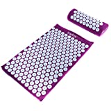 HemingWeigh Acupressure Mat and Pillow Set with Bag, Massage Mat for Neck, Upper and Lower Back Pain Relief, Purple