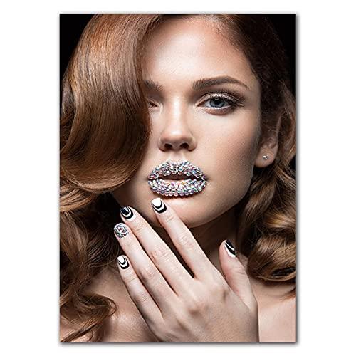 Aawerzhonda Póster de Lienzo Impresiones de Arte de Pared Sexis Mujer Carteles de Maquillaje de Labios Imagen Decorativa de Pared para decoración de Tienda de Belleza 60x90cm