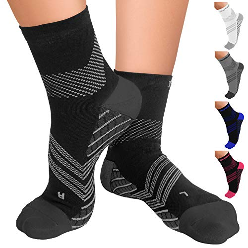 TechWare Pro Compression Socks - Therapy Grade Plantar Fasciitis Sock with Targeted Cushion & Ankle Compression Socks for Men & Women. Arch, Ankle & Foot Support Nano Socks. Blk/Gry Large