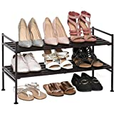 Seville Classics 2-Tier Stackable 9-Pair Shoe Rack Wood Resin Metal Freestanding Closet, Entryway, Bedroom Footwear Organizer, Espresso Slat