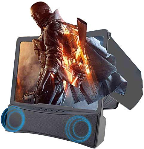 SCREEN 3D Lupa de Pantalla de teléfono móvil Curvada con parlantes Bluetooth,Lupa de película de HD para proyector y Soporte Plegable, Adecuada para iPhone,Samsung y Otros teléfonos Inteligentes