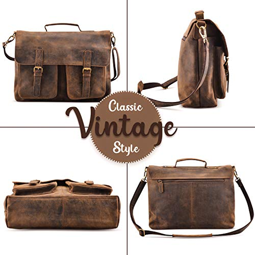 KomalC 16 Inch Buffalo Leather Briefcase Laptop Messenger Bag Office Briefcase College Bag for Men and Women Florida