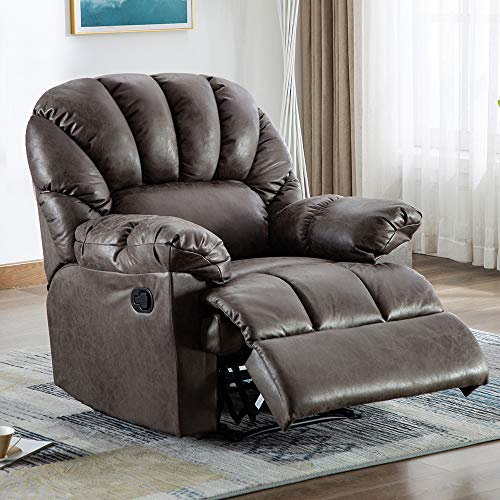 Bonzy Home Recliner Chair Overstuffed Heavy Duty Manual Leather Recliner Home Theater Seating with Thicken Widen Back, Living Room Bedroom Chair Single Sofa (Smoke Gray)