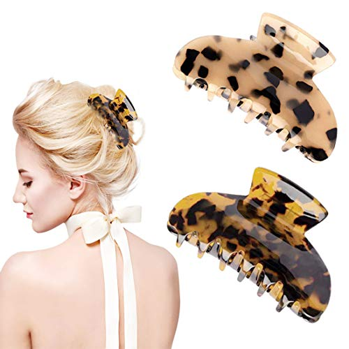 2 PACK Plastic Big Hair Claw Clips Bear Claw Hair Clips for Women Girls Accessories Nonslip Hair Claw Clips for Thick Hair