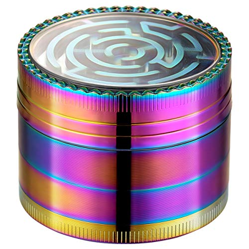 Imagen del producto Lihao Grinder Pollen Crusher Arco Iris Color 4teiliges Set Krautmühle Zinklegierung para Spice, hierbas, especias, Herb (Maze-Design)