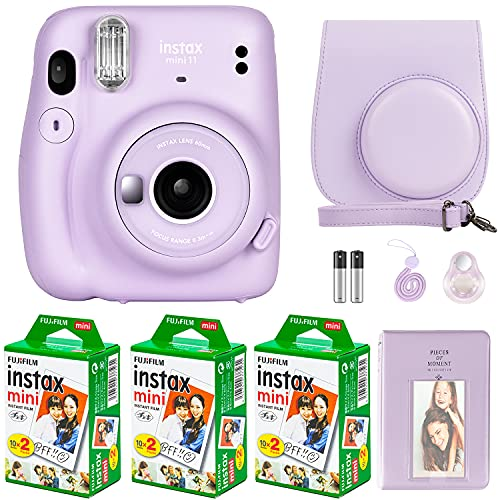 Fujifilm Instax Mini 11 Camera with Fujifilm Instant Mini Film (60 Sheets) Bundle with Deals Number One Accessories Including Carrying Case, Selfie Lens, Photo Album, Stickers (Lilac Purple)