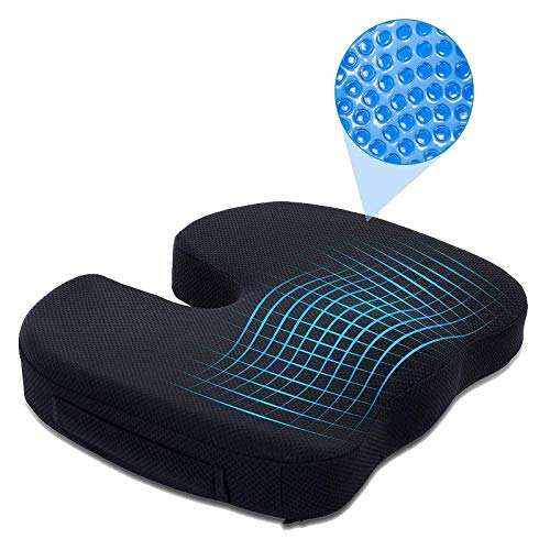 BAWALY U-Pillow Coccyx Memory Foam Seat Cushion for Back Pain Relief and Sciatica and Tailbone Pain - Ideal for Office Chair and Car Driver Seat Pillow