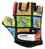 KIDDIMOTO Guantes de Ciclismo sin Dedos para Infantil (niñas y niños) - Bicicleta, MTB, BMX, Carretera, Montaña - Libro Cómico - Talla: S (2-5 años)