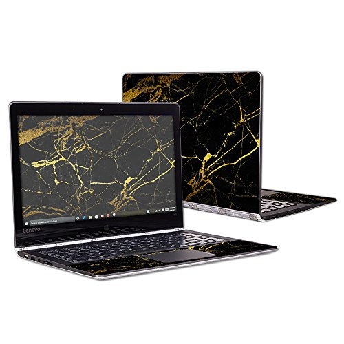 MightySkins Skin Compatible with Lenovo Yoga 900 13.3' Screen wrap Cover Sticker Skins Black Gold Marble