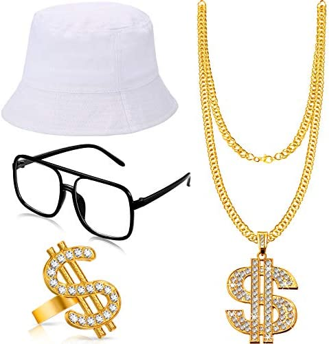 Hip Hop Costume Kit Bucket Hat Sunglasses Gold Chain Ring 80s 90s Rapper Accessories White product image