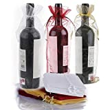 30 bolsas de vino organza, botella de vino de 750 ml bolsa de regalo con cordón para bodas, cumpleaños, fiestas, festivales, navidad, regalos, decoración