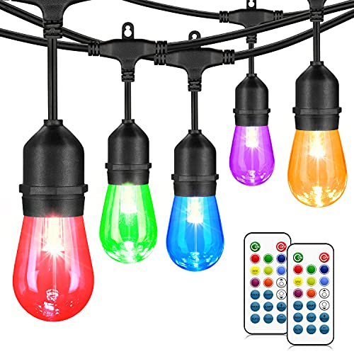48FT Outdoor Patio Lights, RGB Cafe String Lights with 18 E26 S14 Shatterproof Edison Bulbs,...