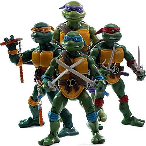 RZSY Modelo De Tortugas Ninja TMNT, Adorno De Escritorio Móvil, Estatua De Personaje Animado De Acción, para Regalos Y Decoración del Hogar