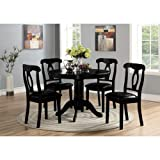 Angel Line 5 Piece Lindsey Dining Set, Black