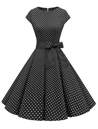 Dressystar Vestito Stile Audrey Hepburn a Maniche Corte, Classico, Vintage, Anni 50 e 60 Noir À Pois Blanc A L