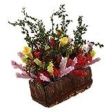 SODIAL(R) 1/12 Puppenhaus Miniatur Mehrfarbige Blumenstraeucher mit Holztopf