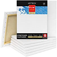 "Arteza 11x14"" Premium Stretched Canvas, Bulk Pack of 8, Primed, 100% Cotton for Painting, Acrylic Pouring, Oil Paint & Wet Art Media, Canvases for Artist, Hobby Painters & Beginner"