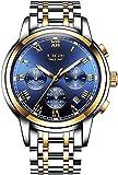 Relojes para hombre Relojes analógicos de cuarzo de lujo con correa de acero con esfera azul a prueba de agua fecha cronógrafo