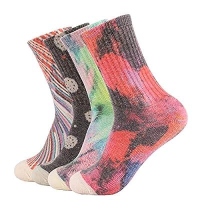 EnerWear 4 Pack Women's Merino Wool Outdoor Hiking Trail Crew Sock (US 9-11, Mix Color 01)