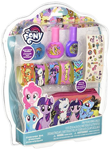 Townley Girl My Little Pony Cosmetic Set for Girls, with Nail Polish, Lip Balm, Stickers, and Zippered Pouch