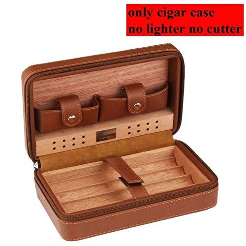 Cxjff Zedernholz Humidor Reisen Tragbare Leder Zigarre Fall Zigarren Box mit Feuerzeug Cutter Befeuchter Box, kein Leichter Kein Schneider