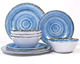 12-Piece Melamine Dinnerware Set - for Outdoor/Indoor Use, Shatterproof, Lightweight, BPA Free, Service for 4 (Rustic Blue)